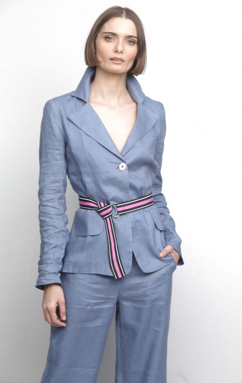 Blazer Melina Linho Azul   - Foto 1