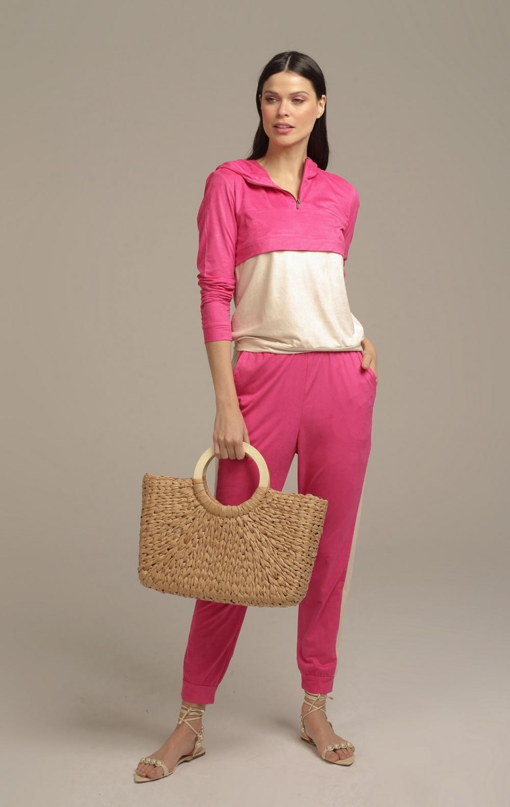 Blusa Capuz Suede Pink - Foto 1