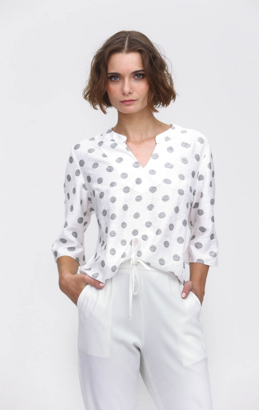 Blusa Crepe Estela Off White  - Foto 1