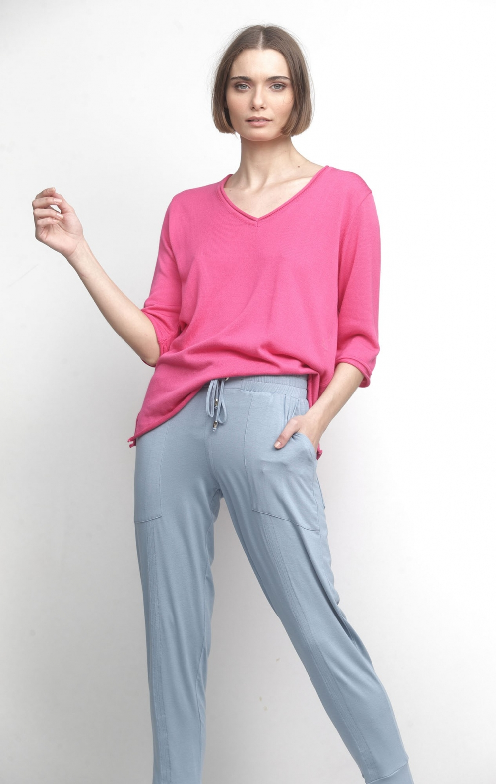 Blusa Decote V 3/4 Pink - Foto 1