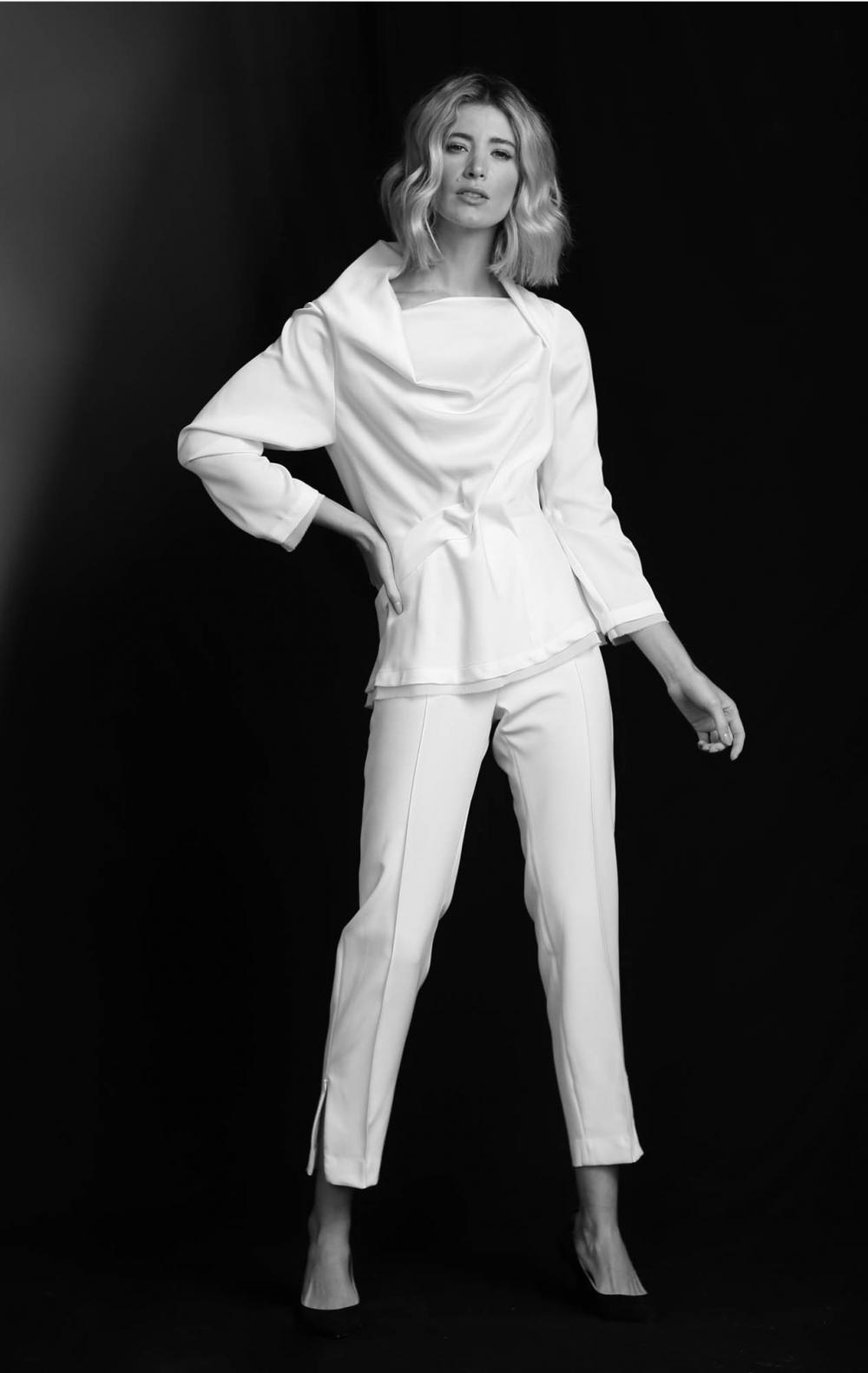 Blusa Cetim Tie Off White - Foto 1