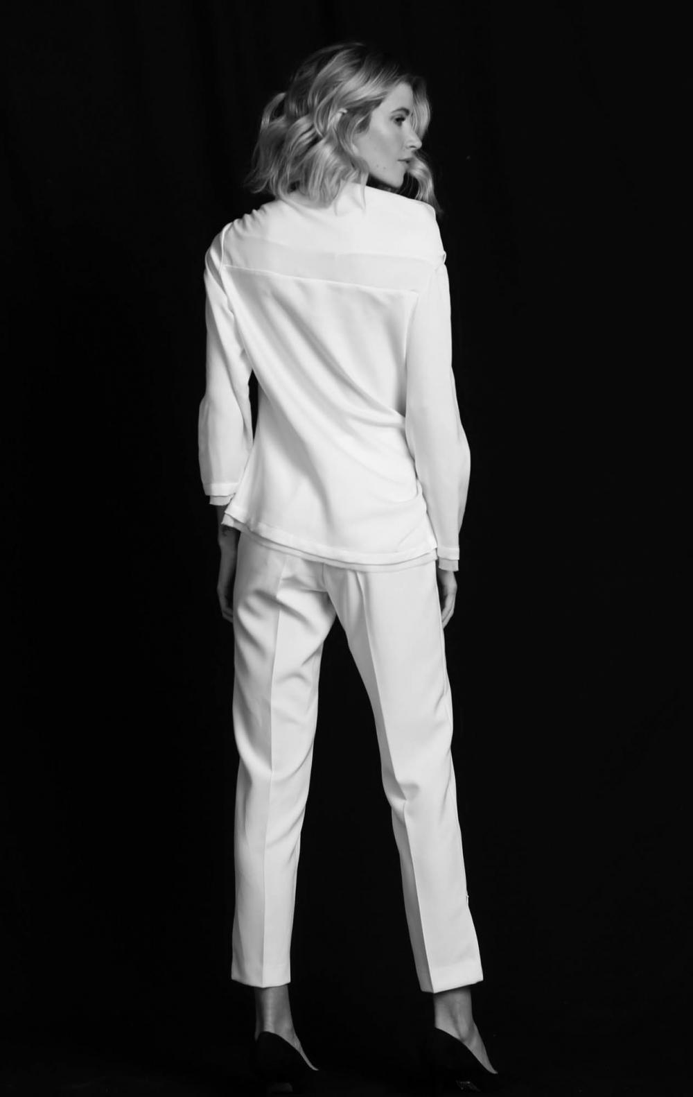 Blusa Cetim Tie Off White - Foto 2