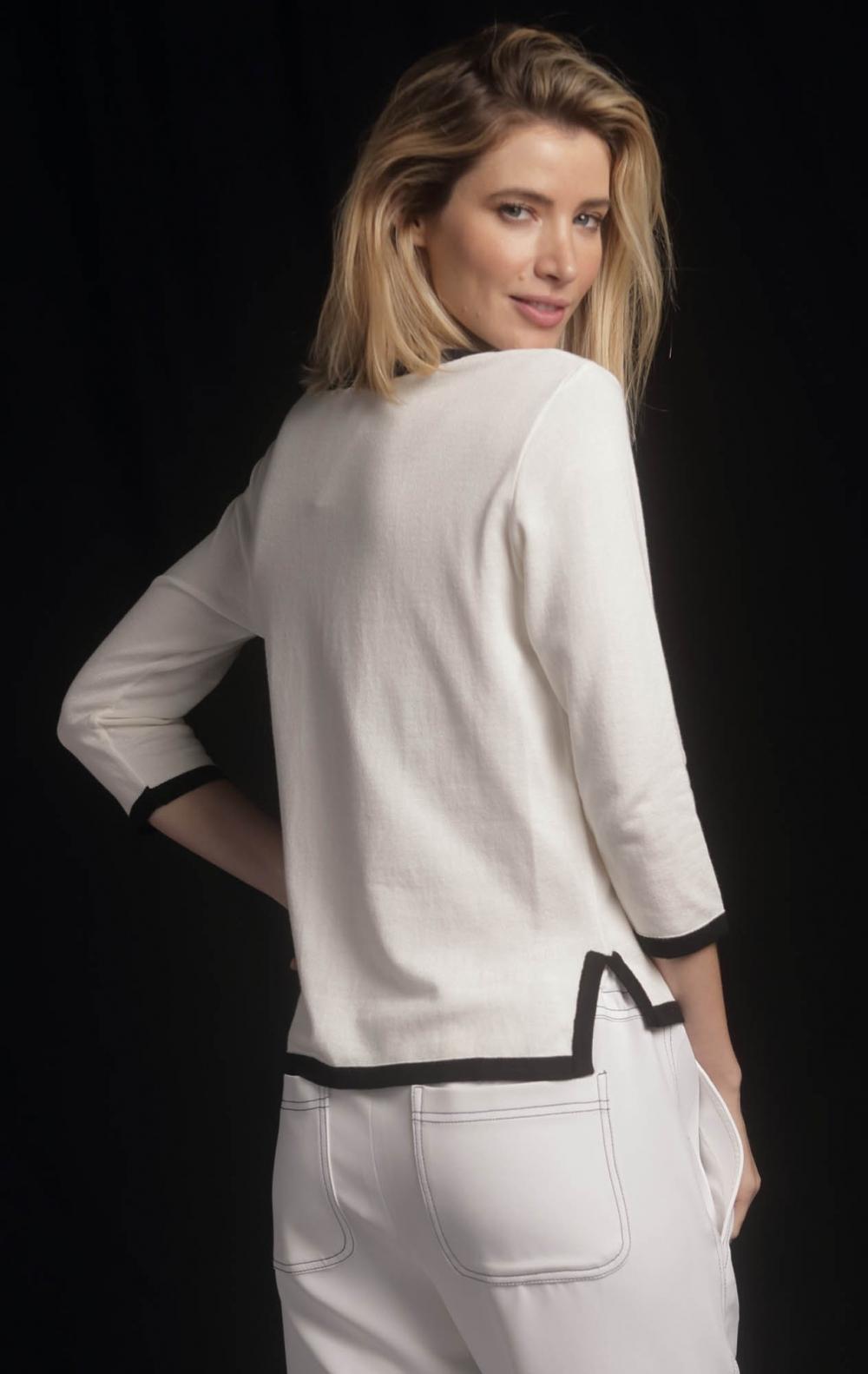 Blusa Tricot Bicolor Off White - Foto 2