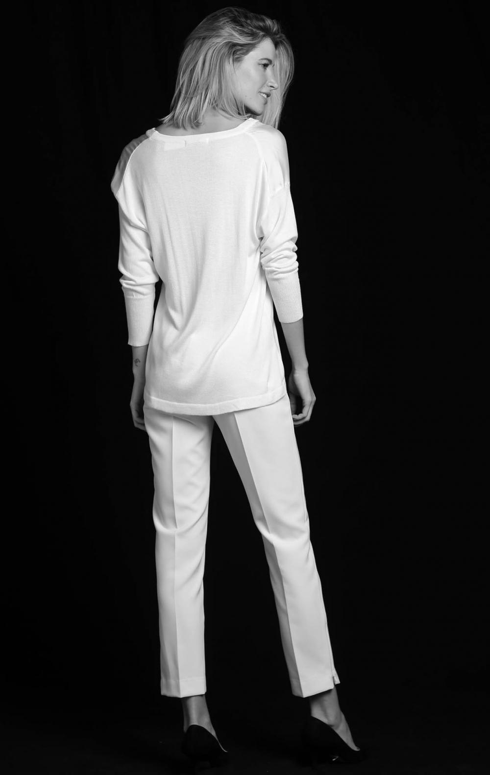 Blusa Tricot Frente Cetim Off White  - Foto 2