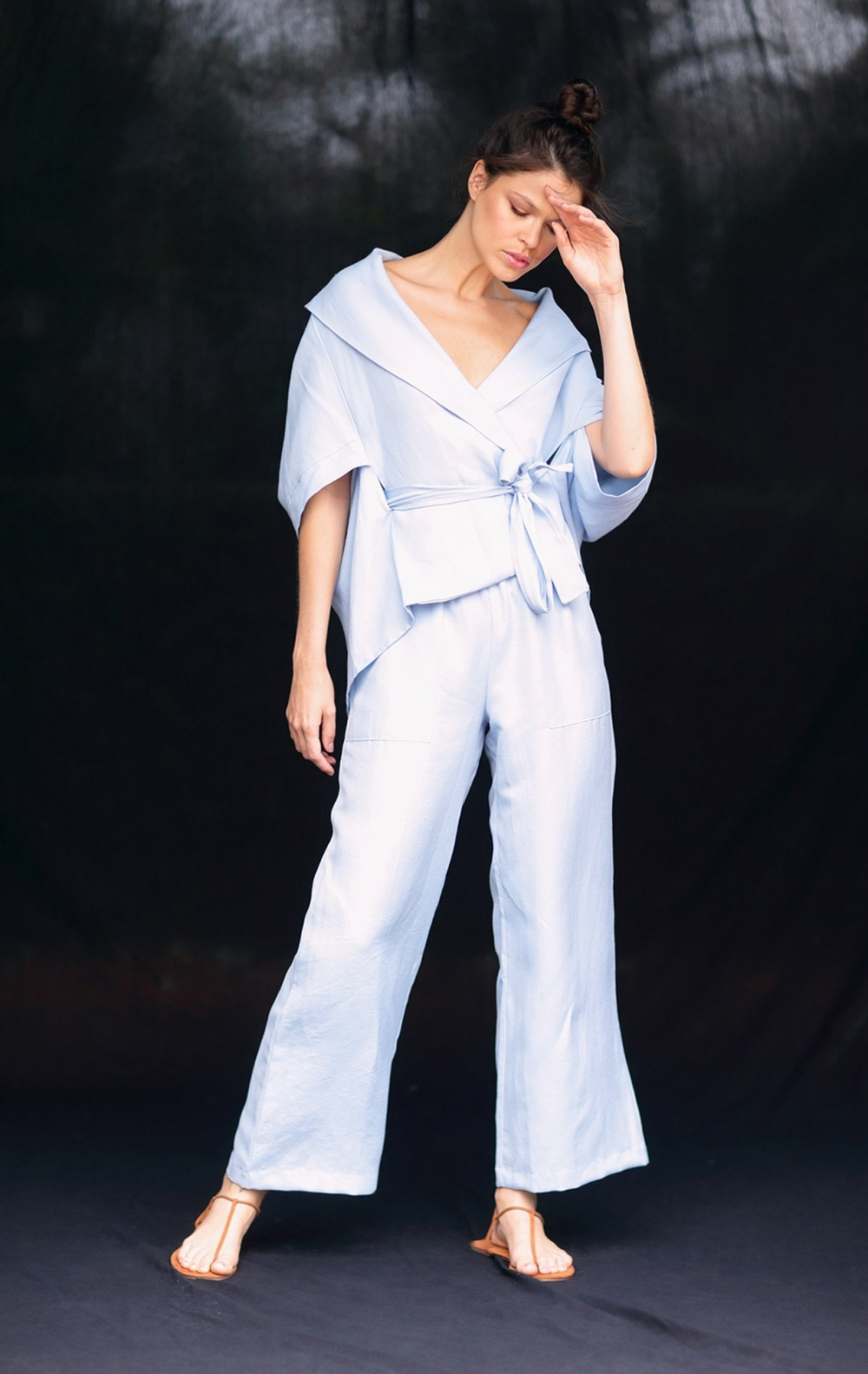 Calça Pantalona Linho Cos Elástico Azul  - Foto 1