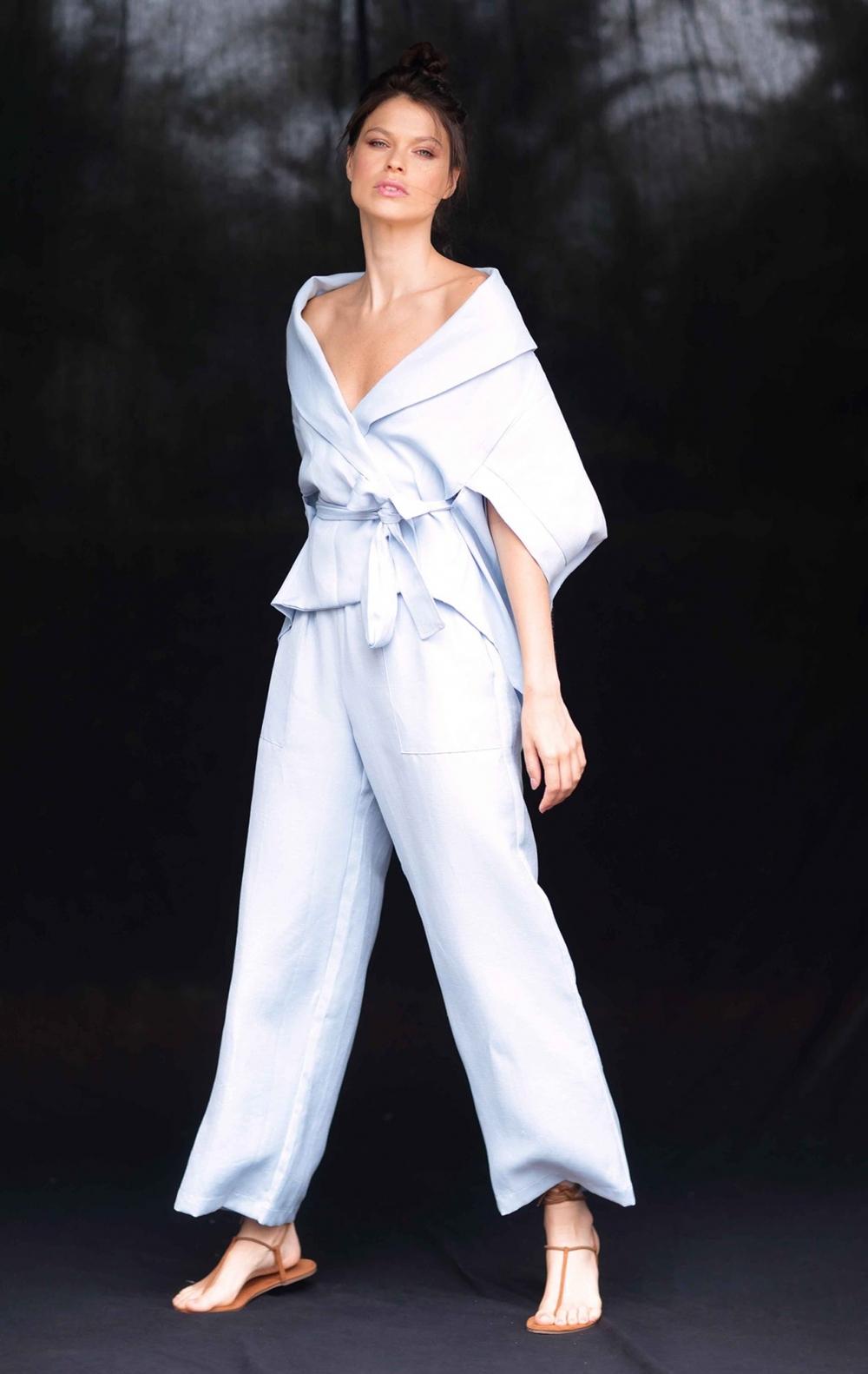Calça Pantalona Linho Cos Elástico Azul  - Foto 2