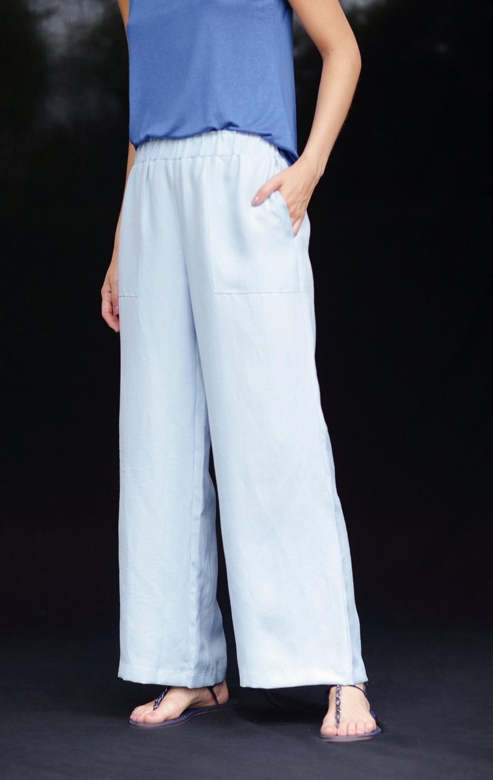 Calça Pantalona Linho Cos Elástico Azul  - Foto 3