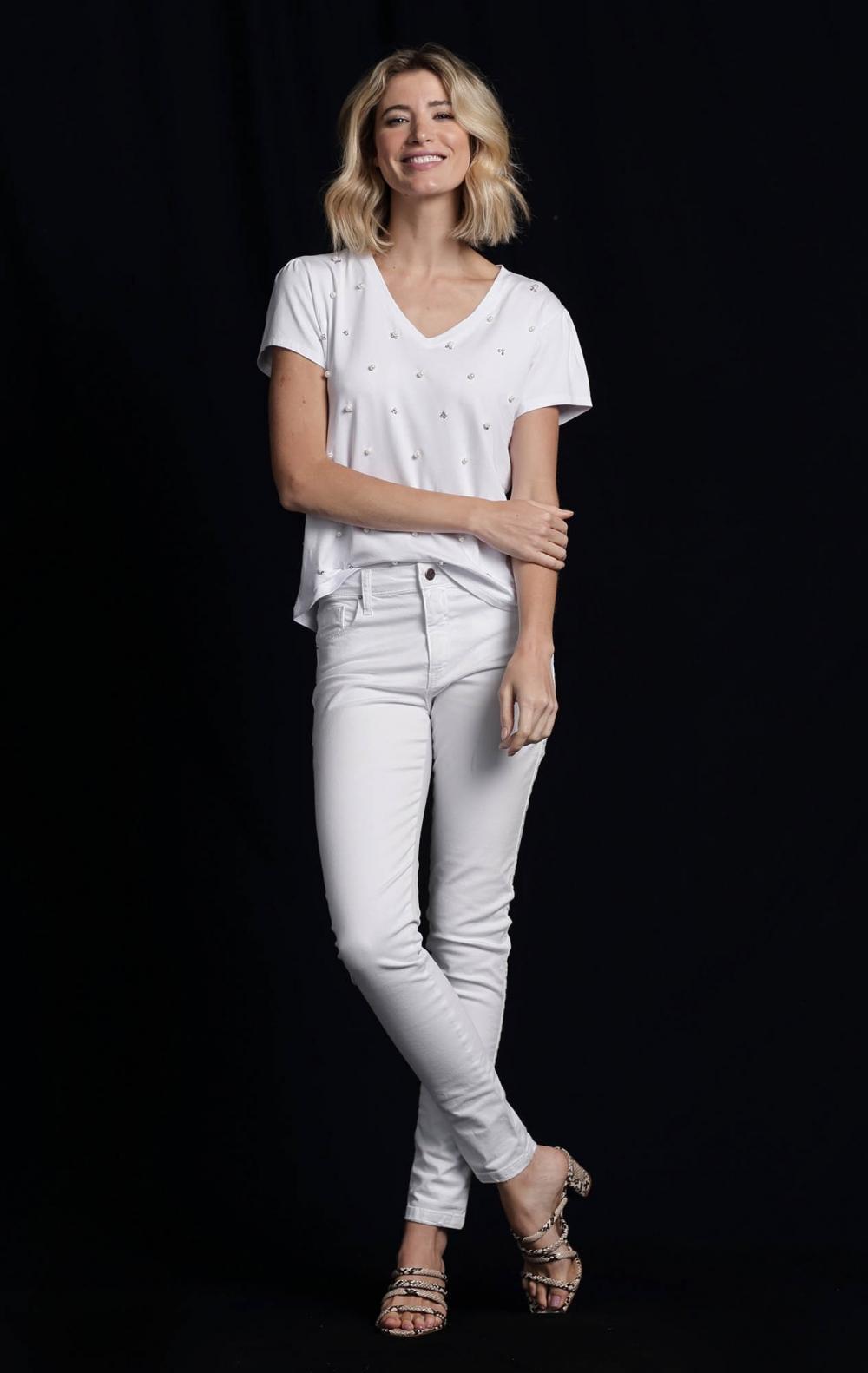 Calça Skinny Sarja Branca - Foto 1