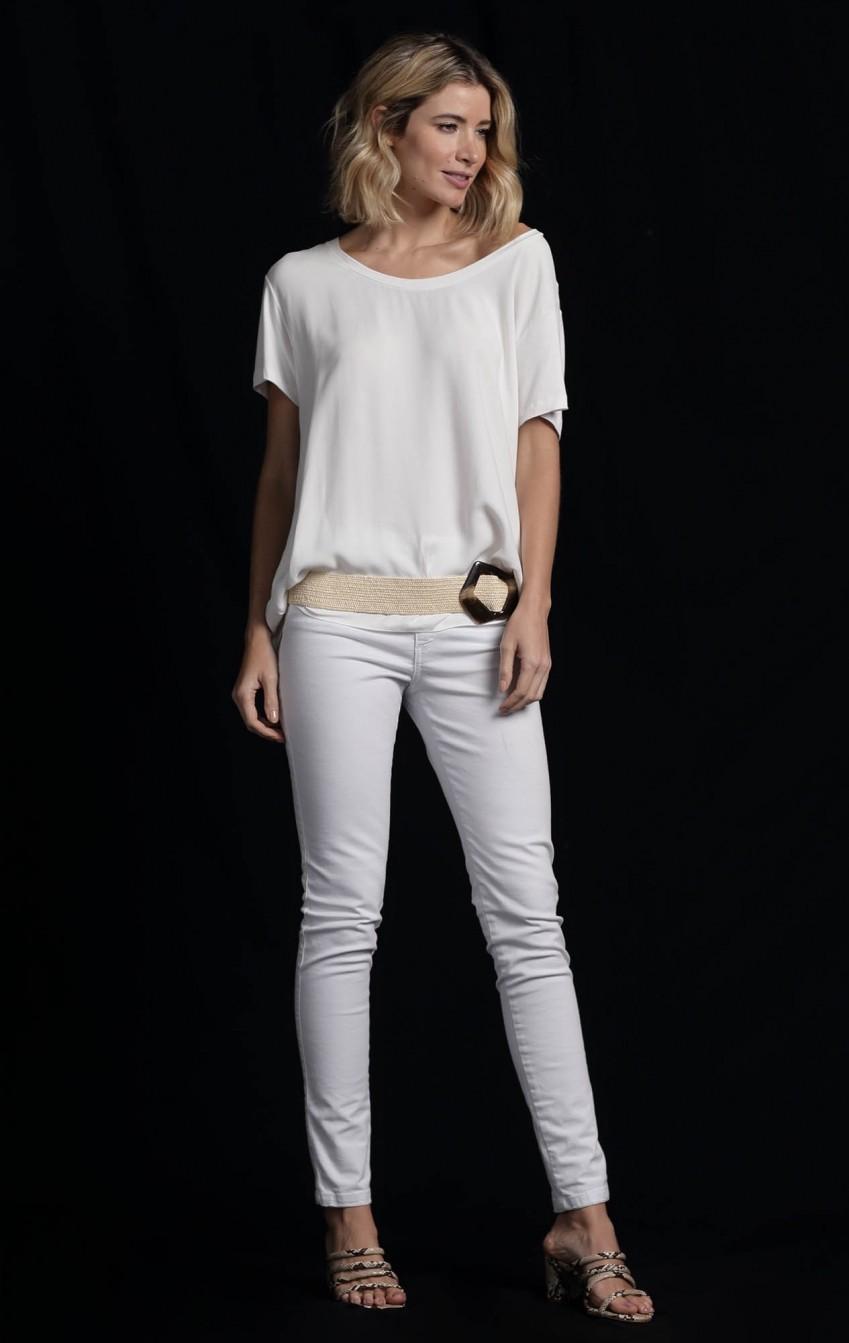 Calça Skinny Sarja Branca - Foto 2