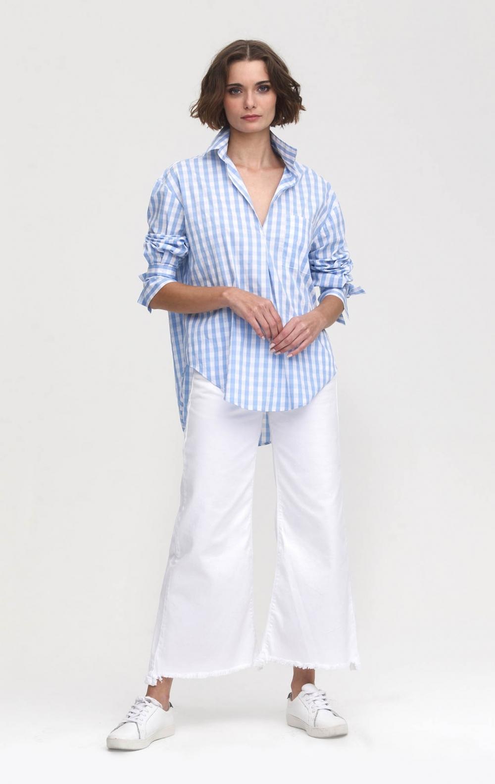 Camisa CB Tricoline Xadrez Azul Claro  - Foto 1