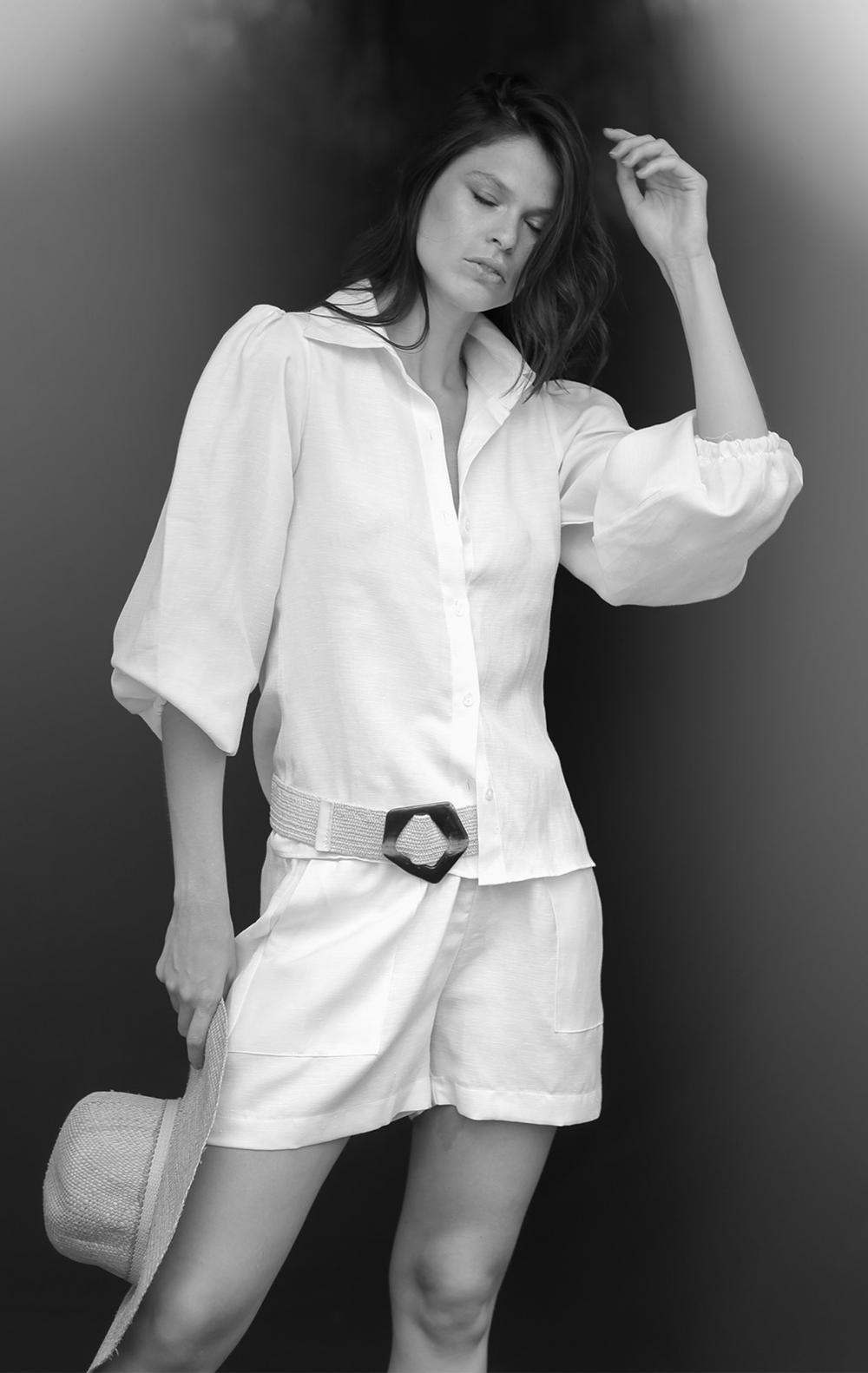 Camisa Linho Manga Princesa Off White - Foto 1