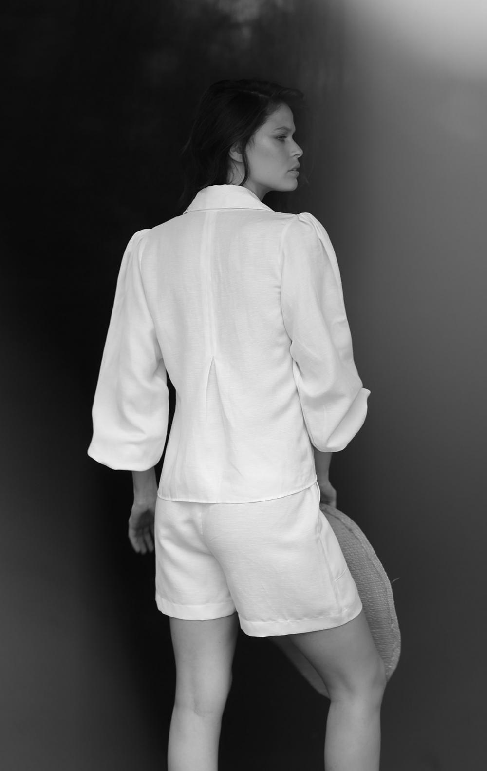 Camisa Linho Manga Princesa Off White - Foto 3