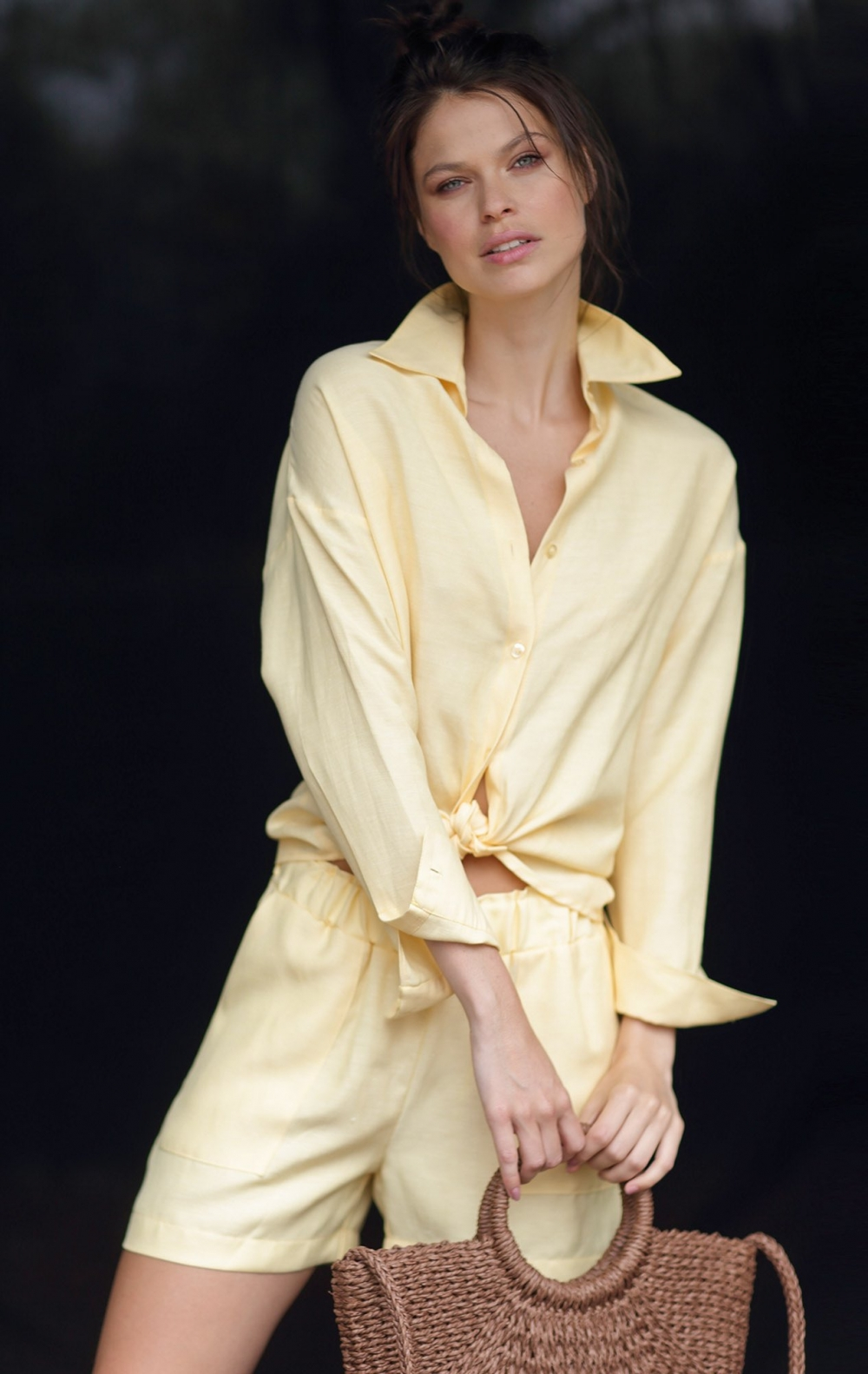 Camisa Linho Tessui Oversize Amarelo - Foto 1
