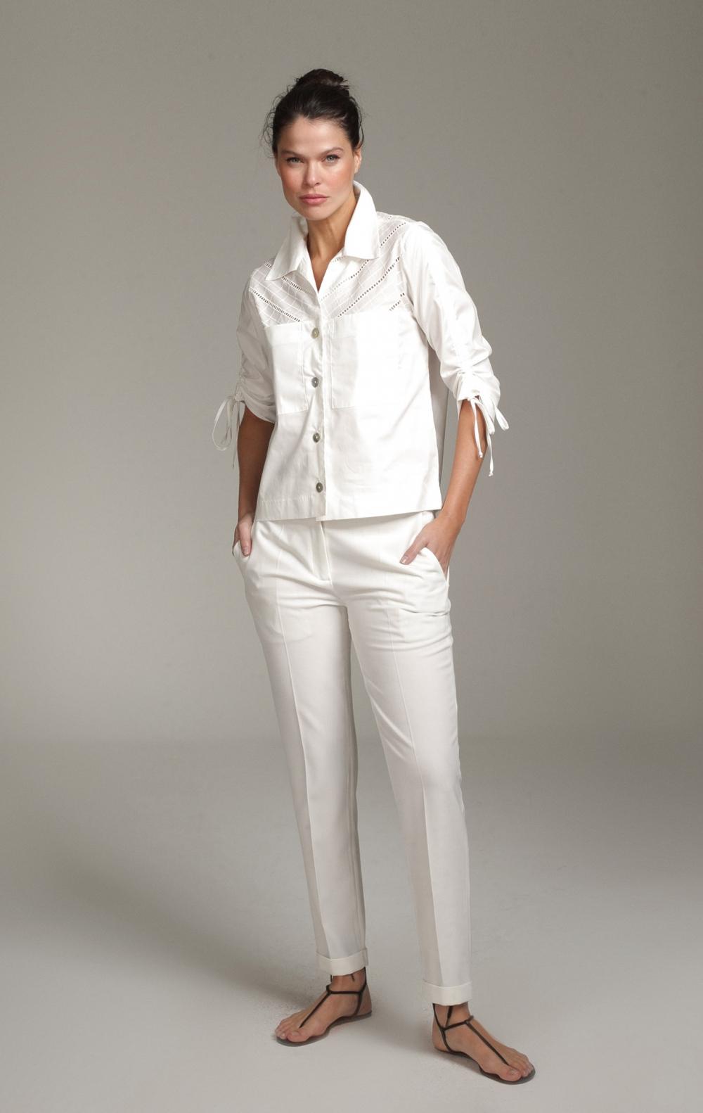 Camisa Livia Algodão Off White - Foto 1