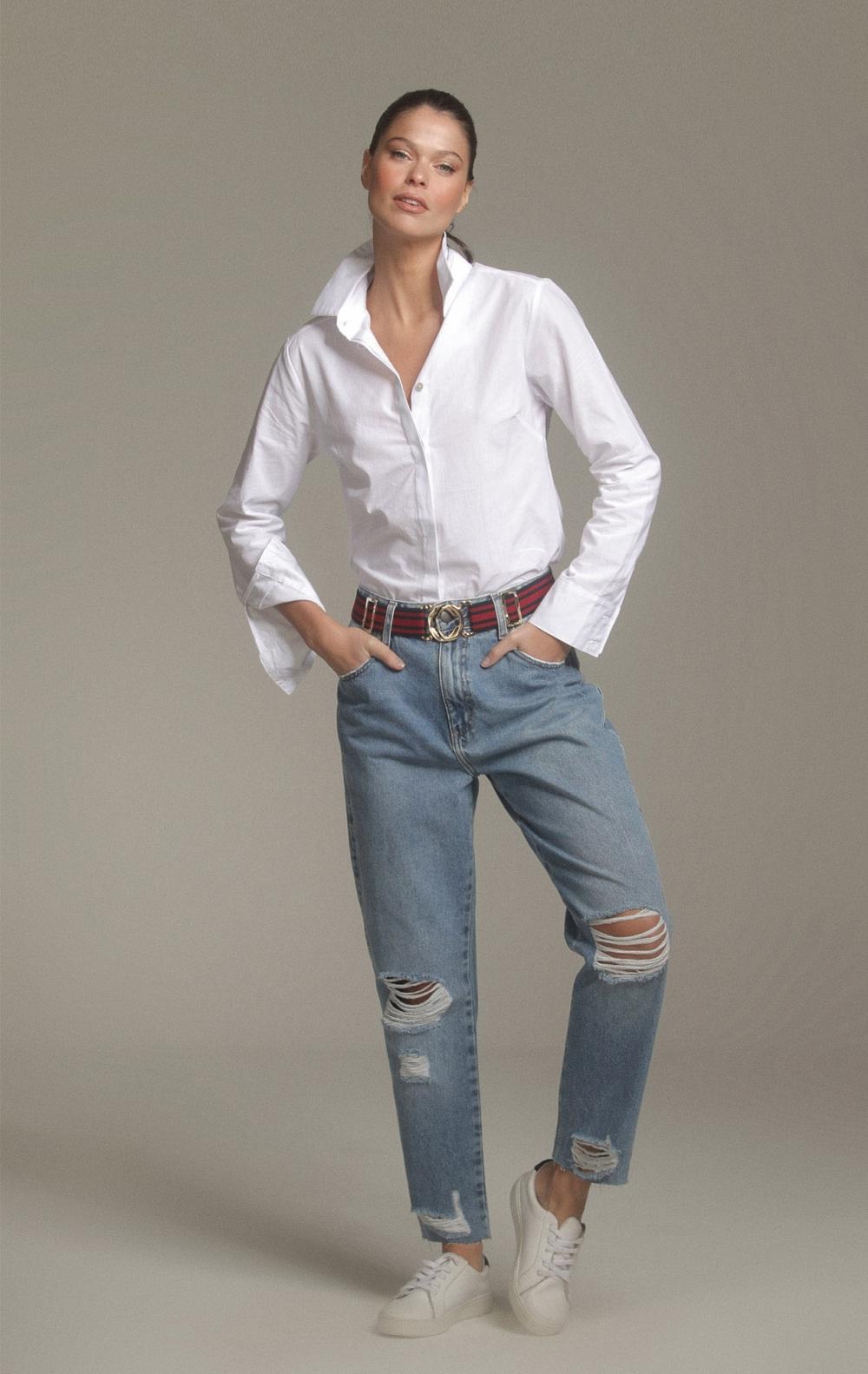 Camisa Margaret Longa Branca - Foto 1