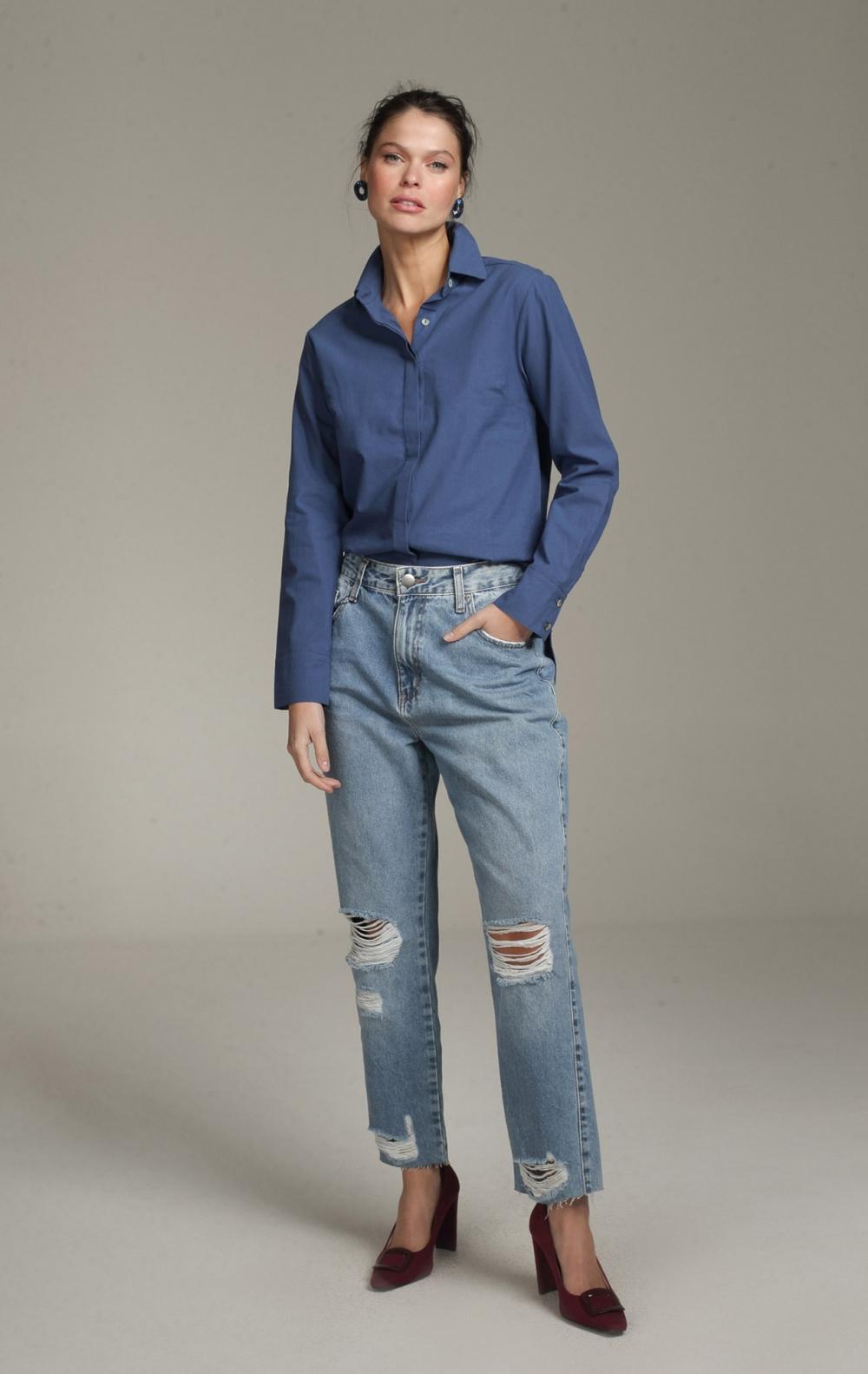 Camisa Margaret Longa Indigo - Foto 1