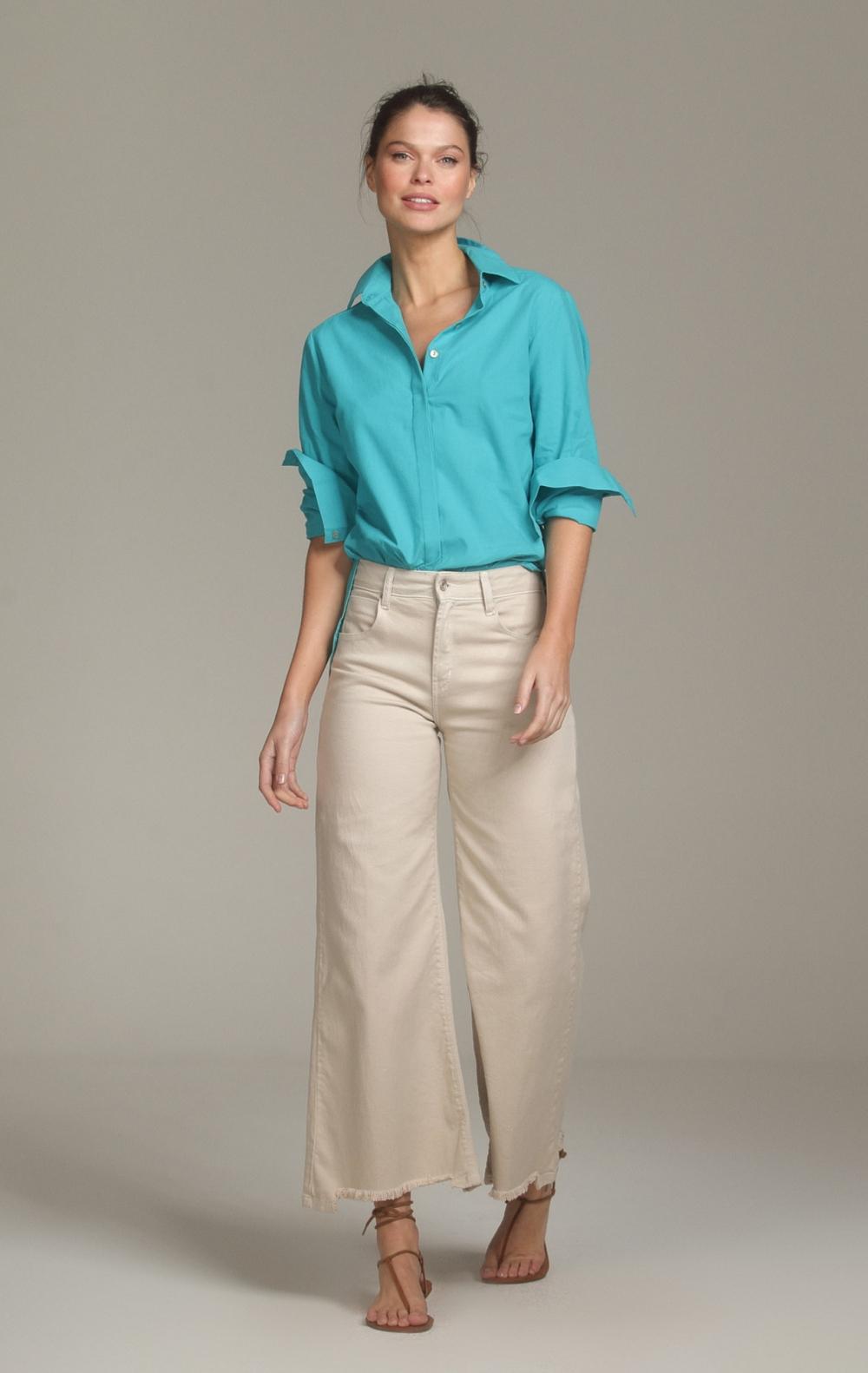 Camisa Margaret Longa Turquesa - Foto 1