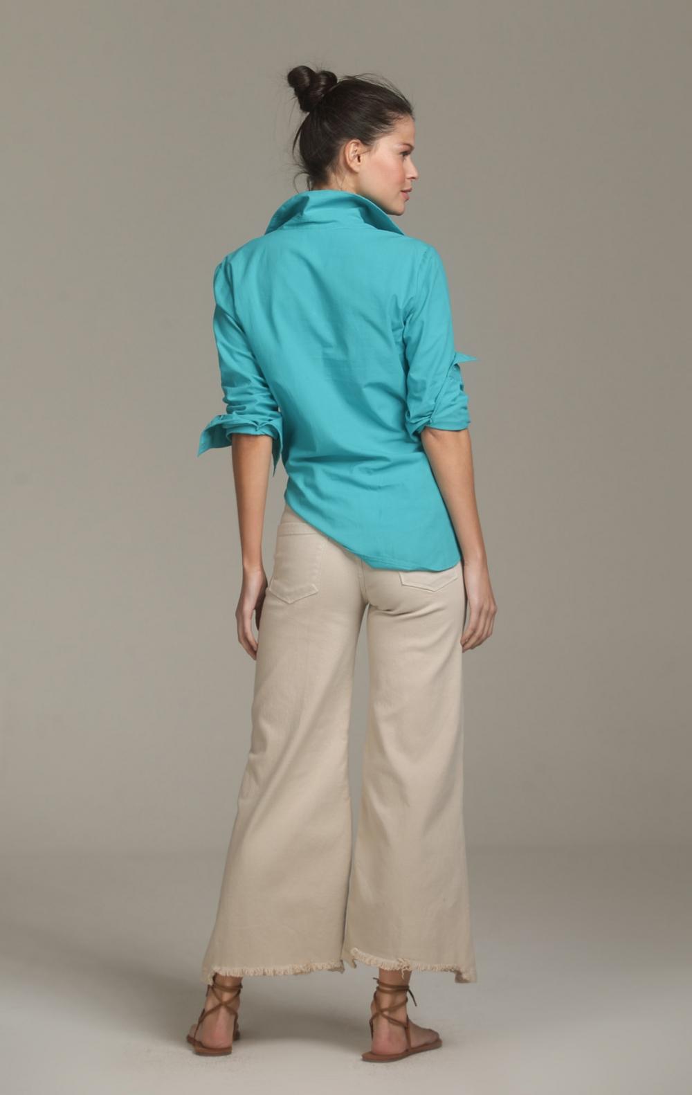 Camisa Margaret Longa Turquesa - Foto 2
