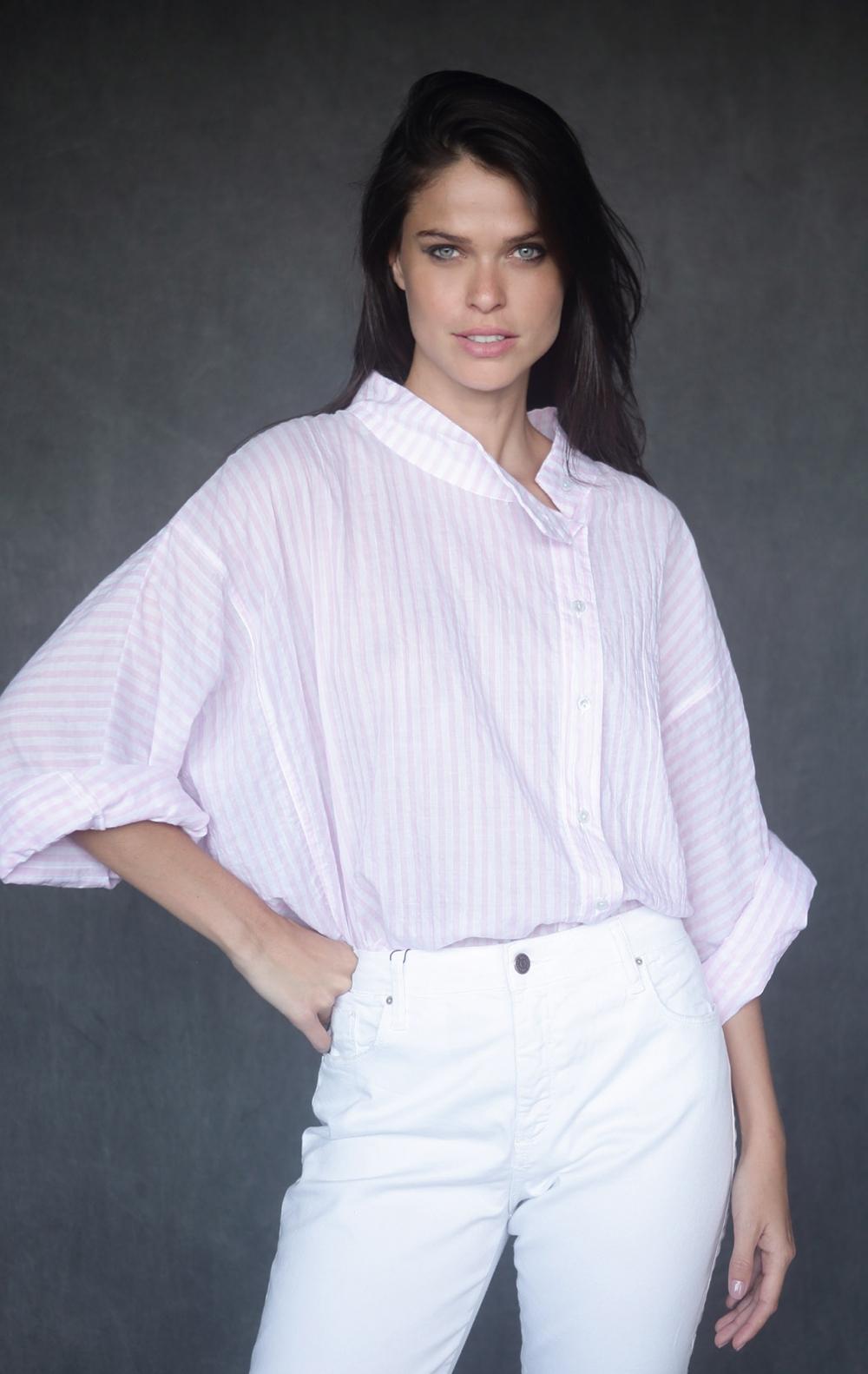 Camisa Tricoline Bruna Rosa  - Foto 1