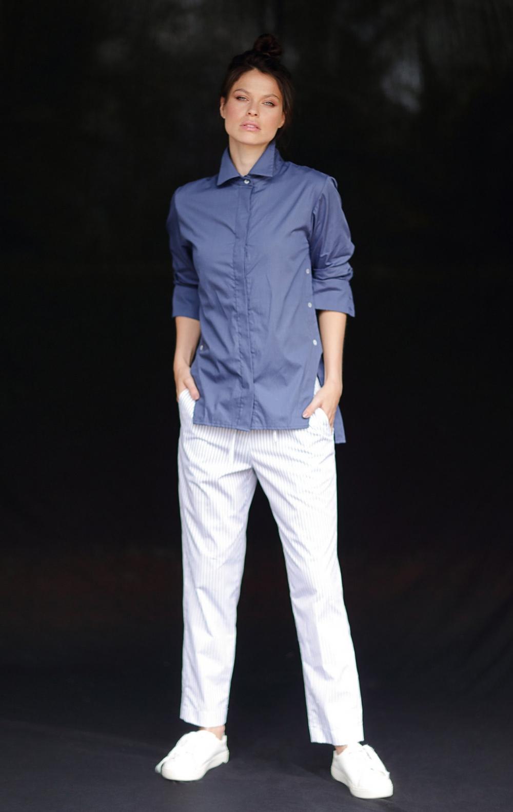 Camisa Tricoline Olivia Azul - Foto 1