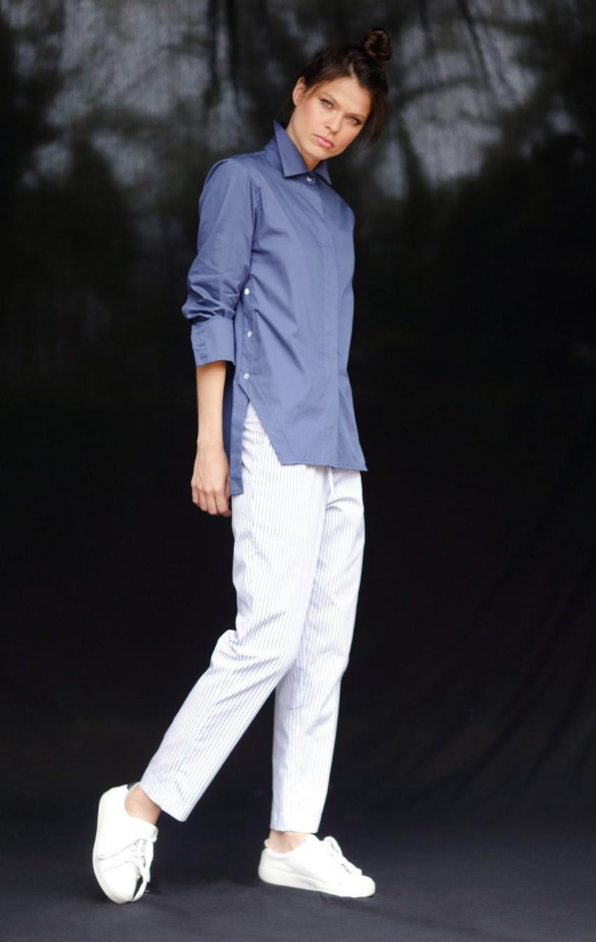 Camisa Tricoline Olivia Azul  - Foto 2
