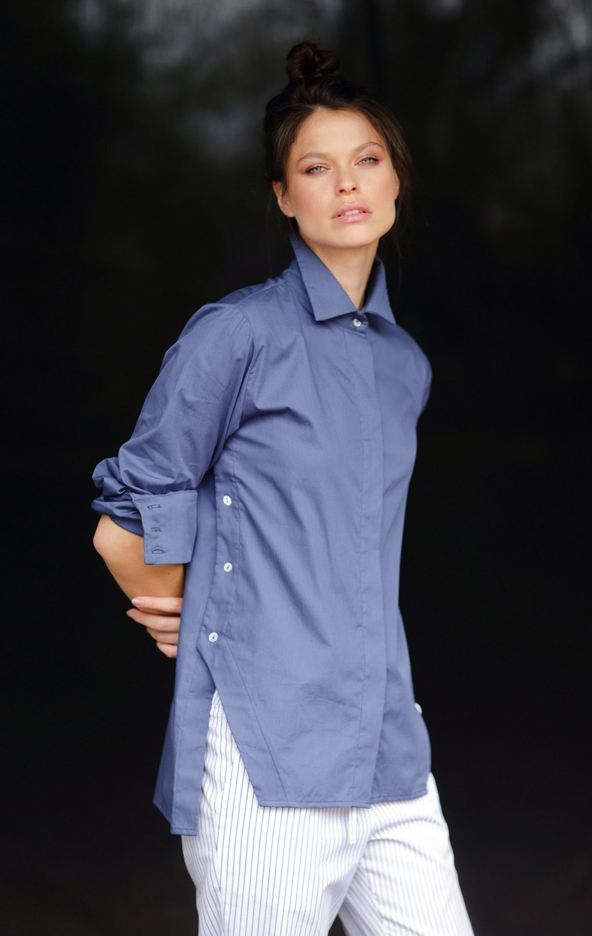 Camisa Tricoline Olivia Azul  - Foto 3