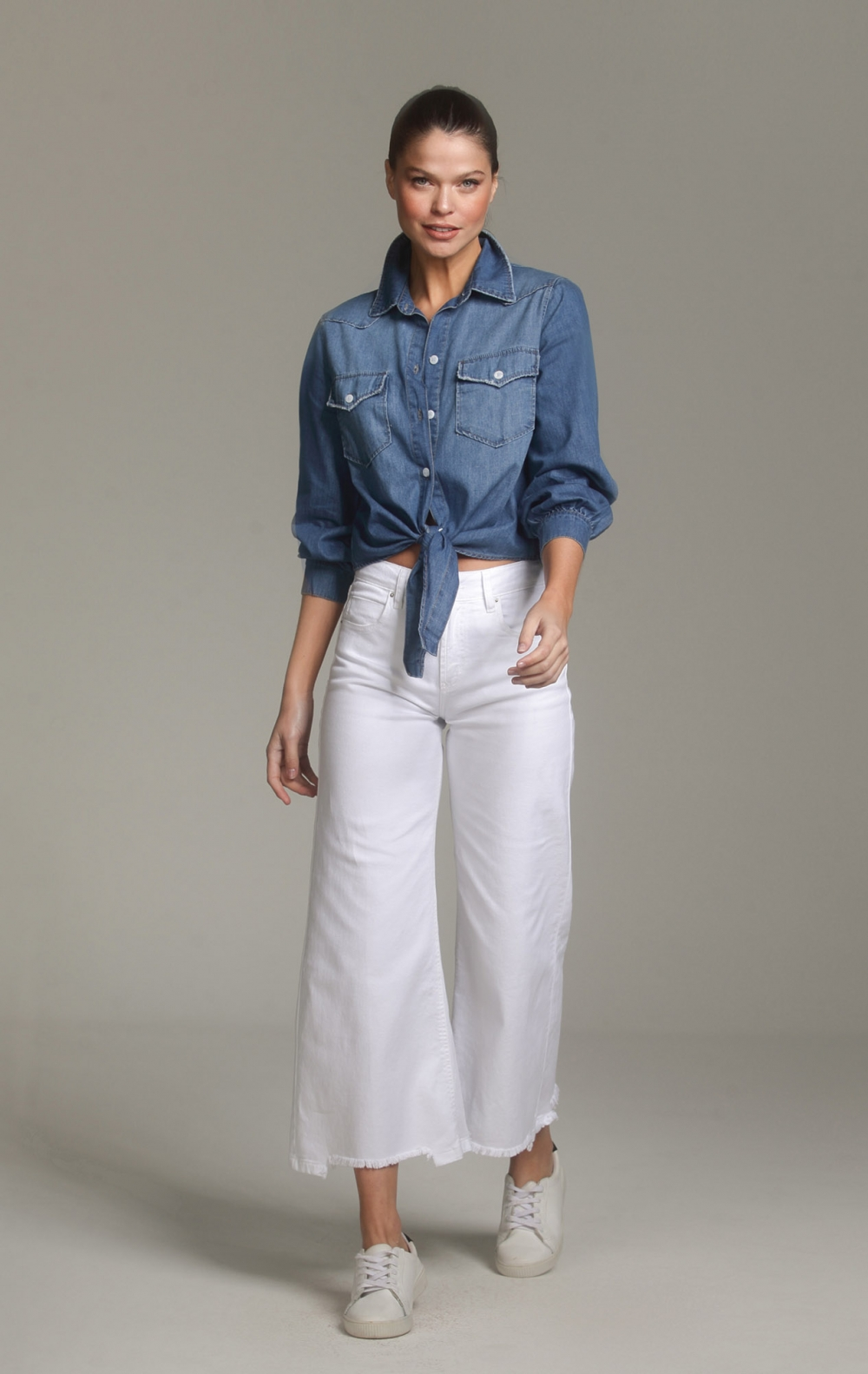 Camisa Tuca Tencel Jeans - Foto 1
