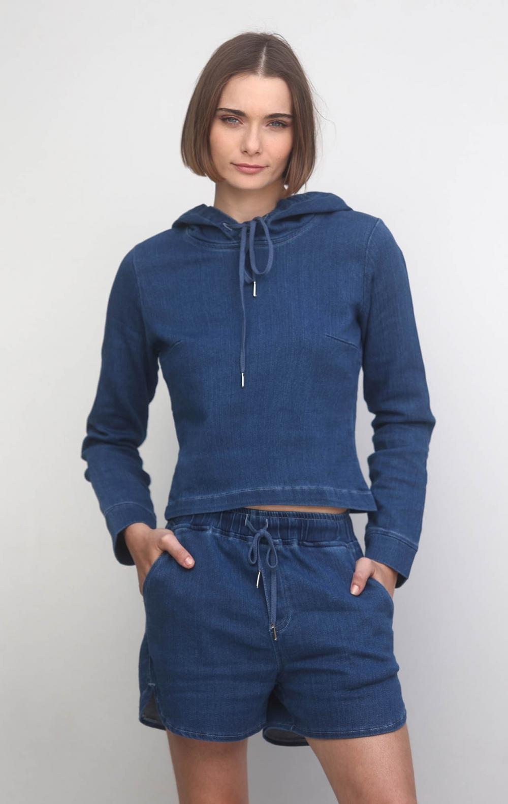 Conjunto Moletom Jeans Curto  - Foto 1
