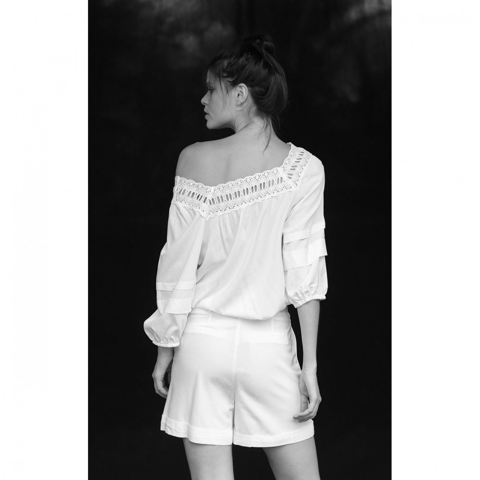 Shorts Linho com Cinto Off White  - Foto 2
