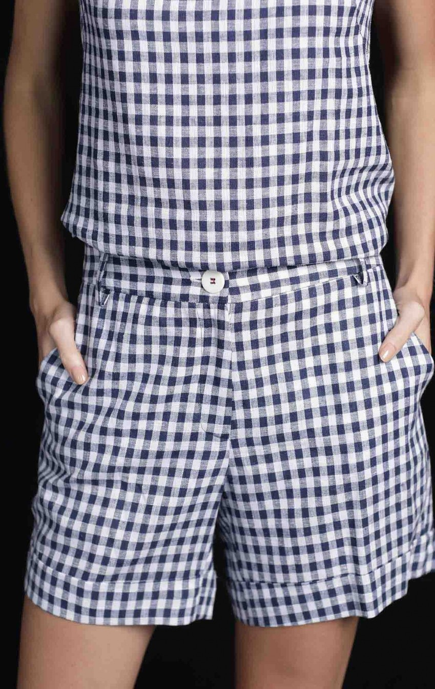Shorts Xadrez Simone Azul  - Foto 2