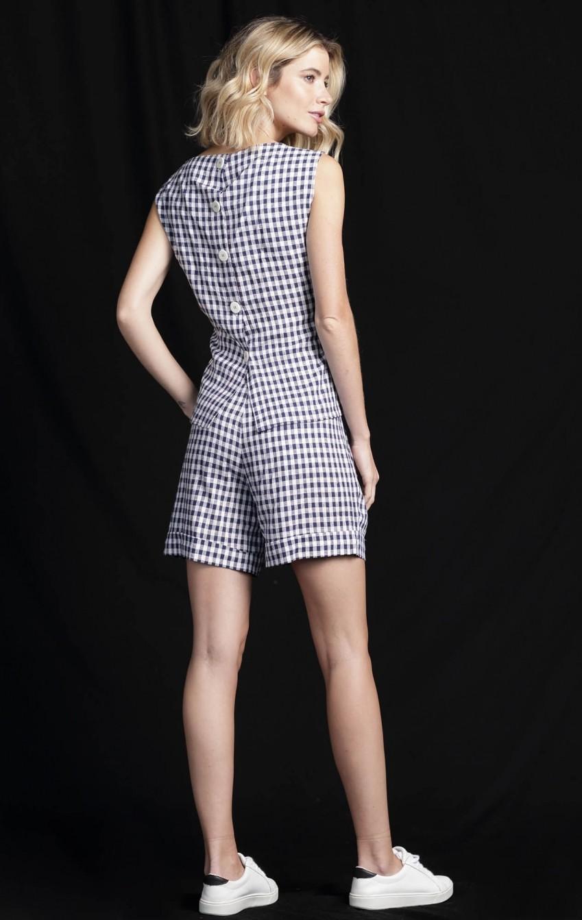 Shorts Xadrez Simone Azul  - Foto 3