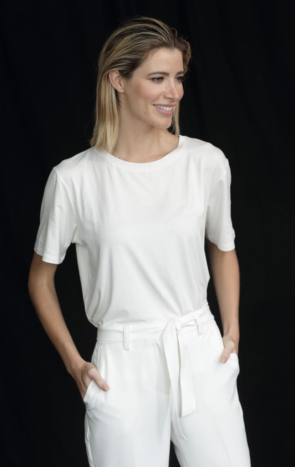 T-Shirt CB Viscocrepe Off White  - Foto 1