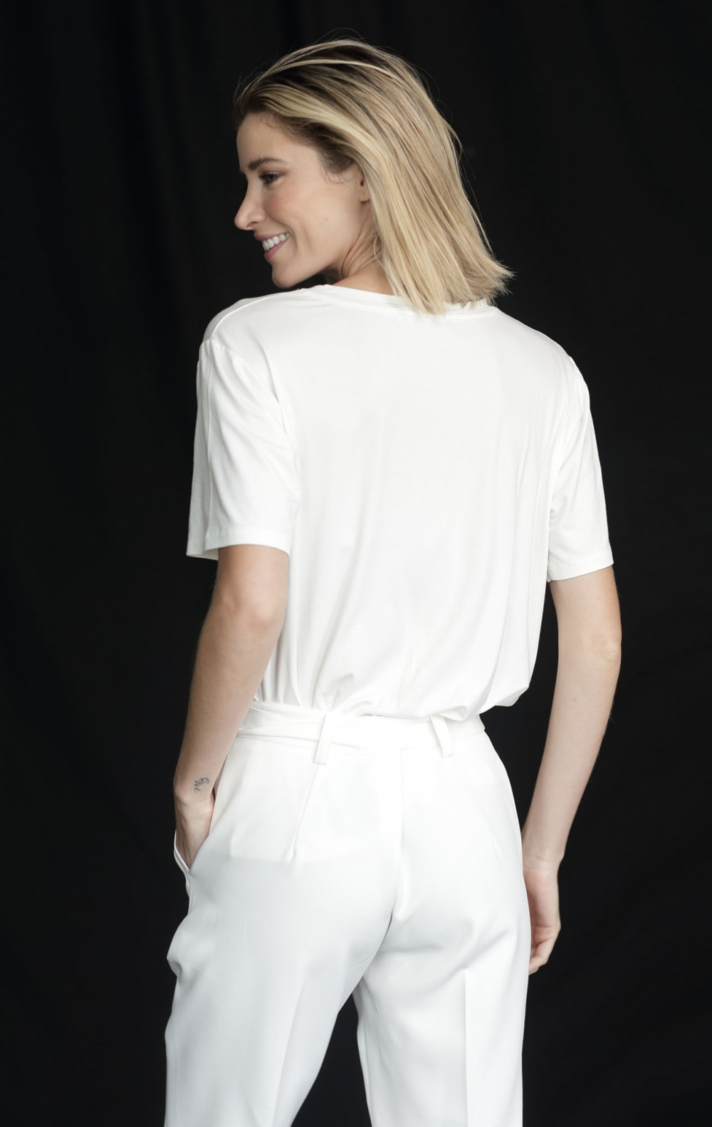 T-Shirt CB Viscocrepe Off White  - Foto 3