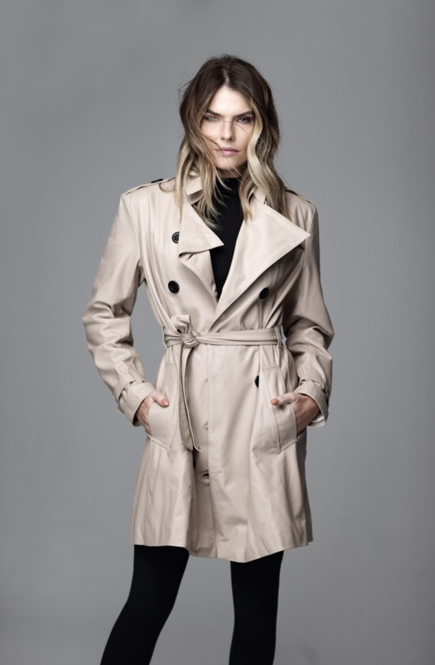 Trench Coat Couro Bege - Foto 1