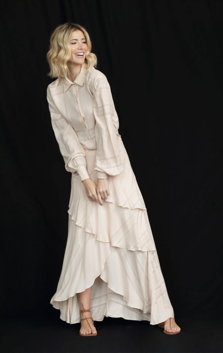 Vestido Camadas Crepe Creme - Foto 2
