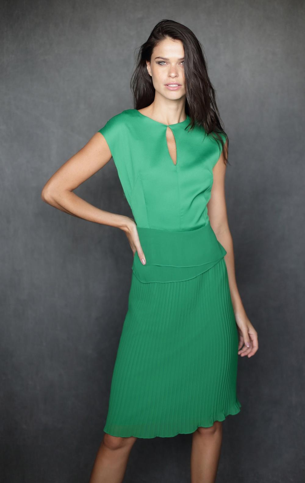 Vestido Carven Plissado Green - Foto 1
