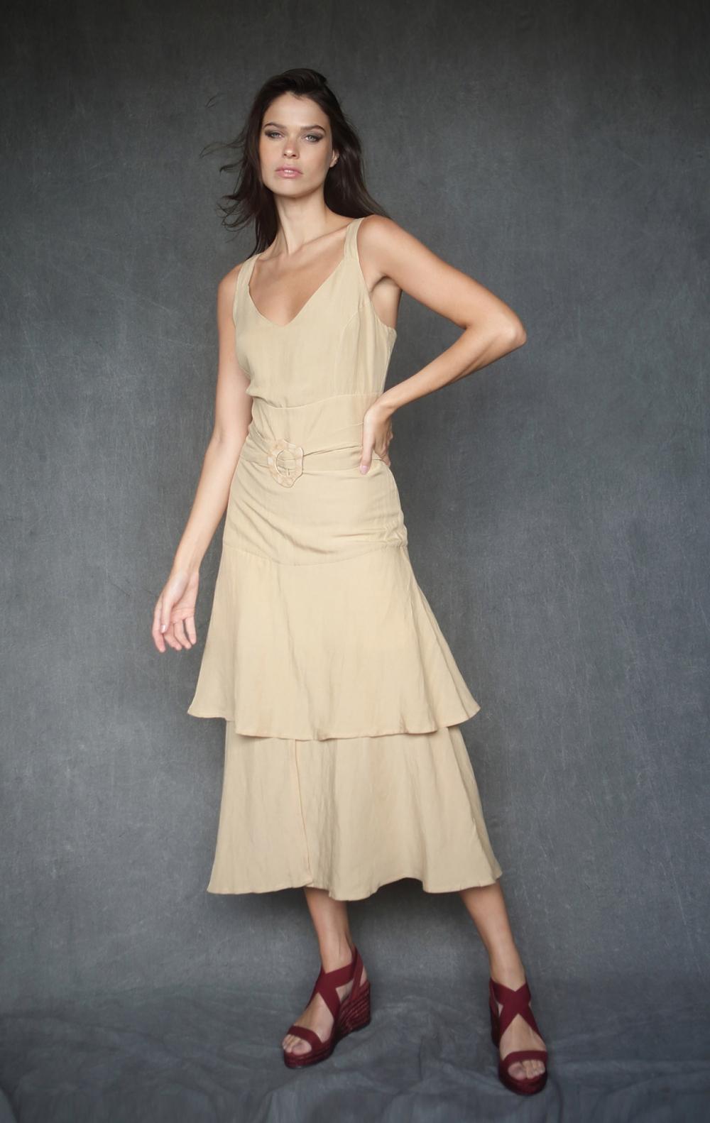 Vestido Cinto Fivela Bambu - Foto 1