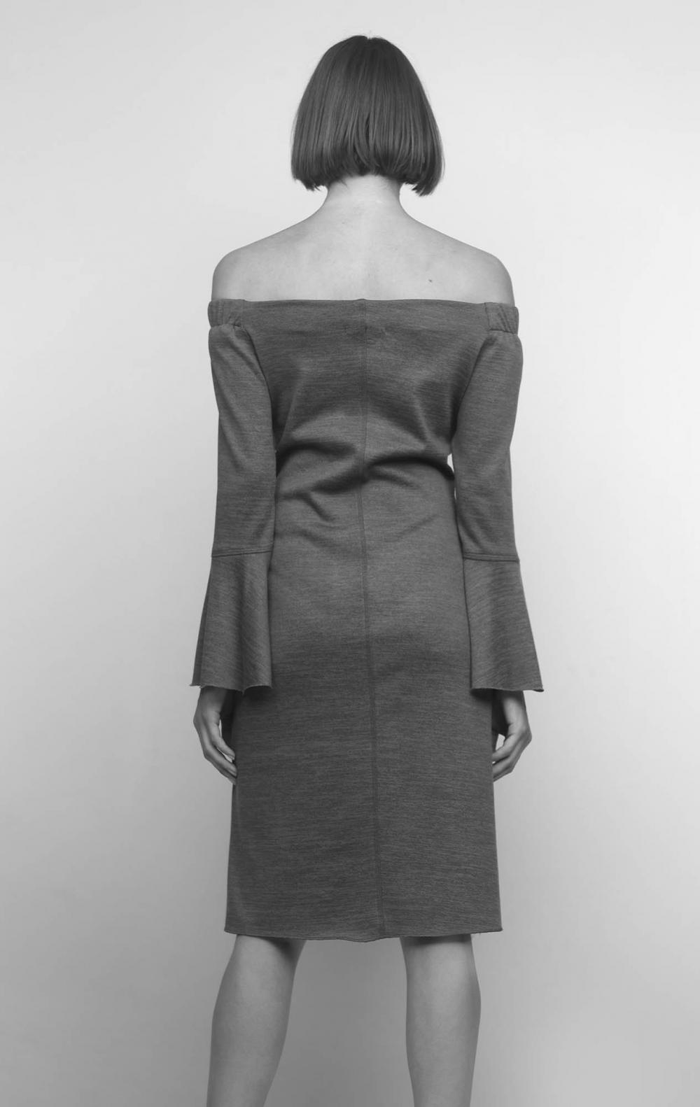 Vestido Cinza Ombro a Ombro Malha - Foto 2