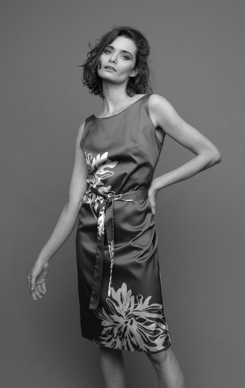 Vestido Condotti Estampado Cinza - Foto 1