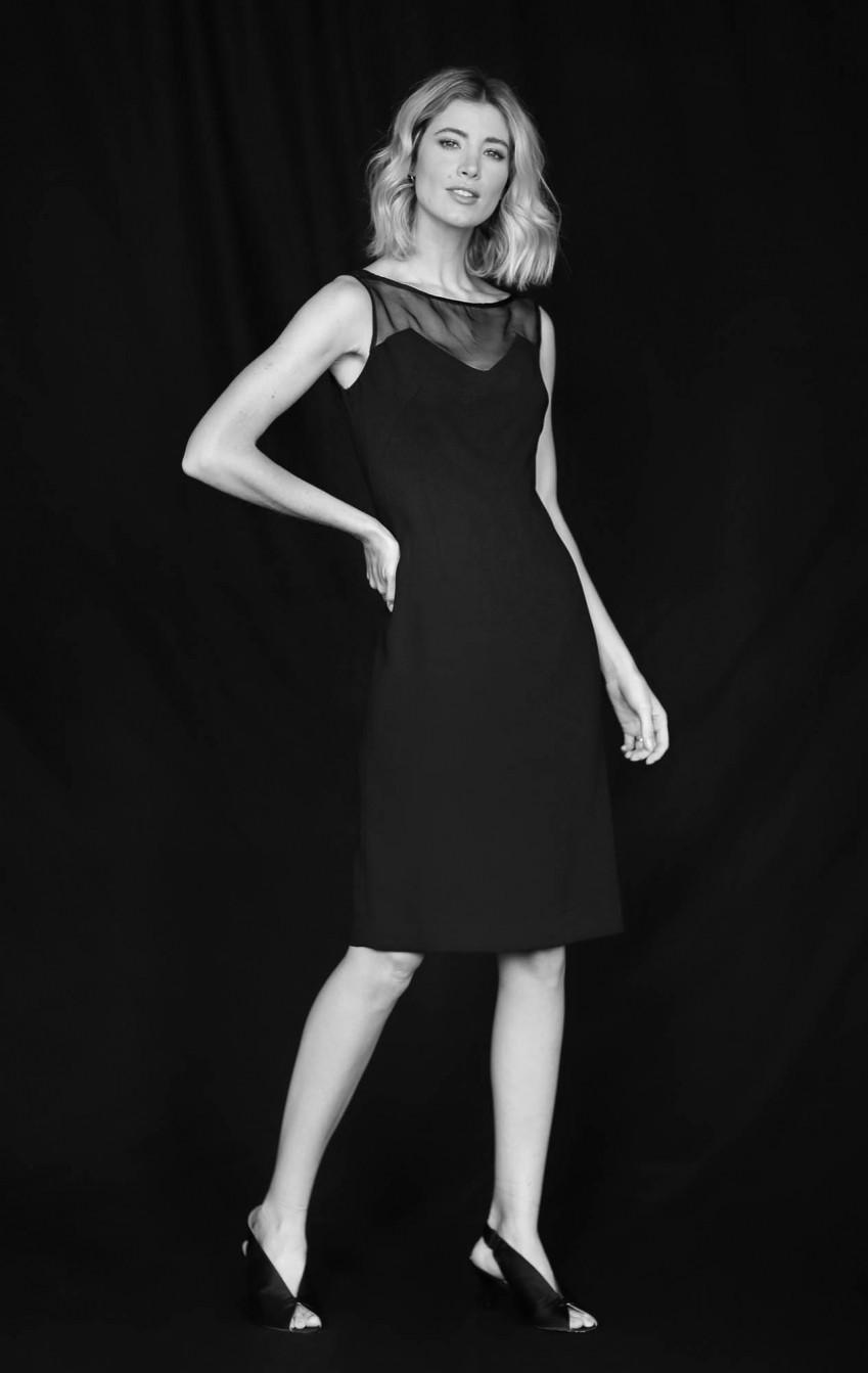 Vestido Crepe com Transparência  Preto Carol   - Foto 1