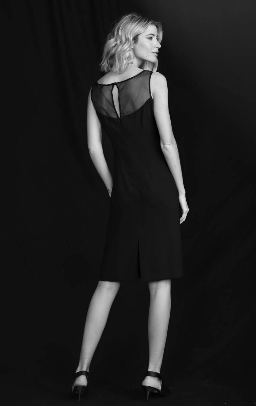 Vestido Crepe com Transparência  Preto Carol   - Foto 3
