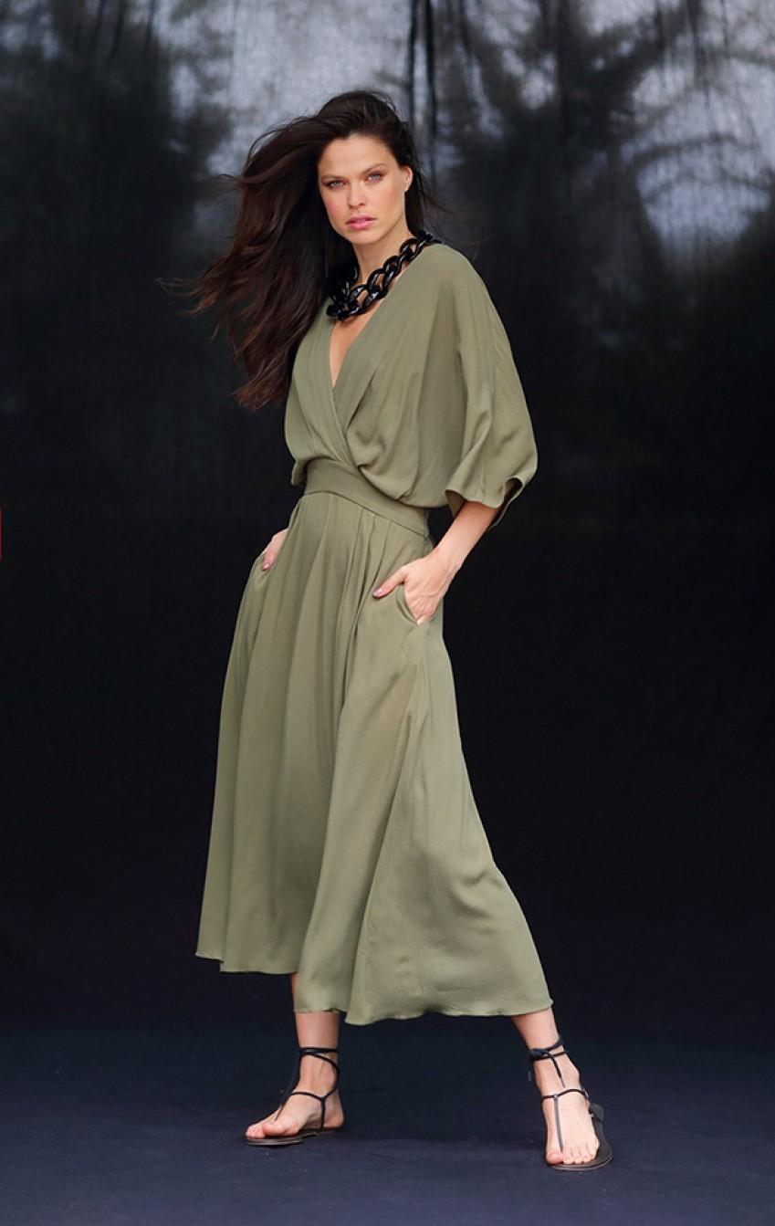 Vestido Crepe Barbara Verde Musgo - Foto 1