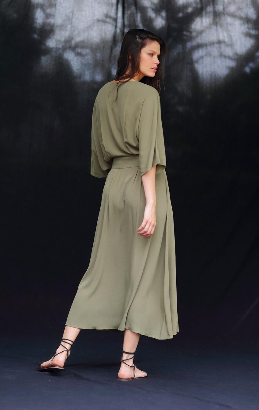 Vestido Crepe Barbara Verde Musgo - Foto 2