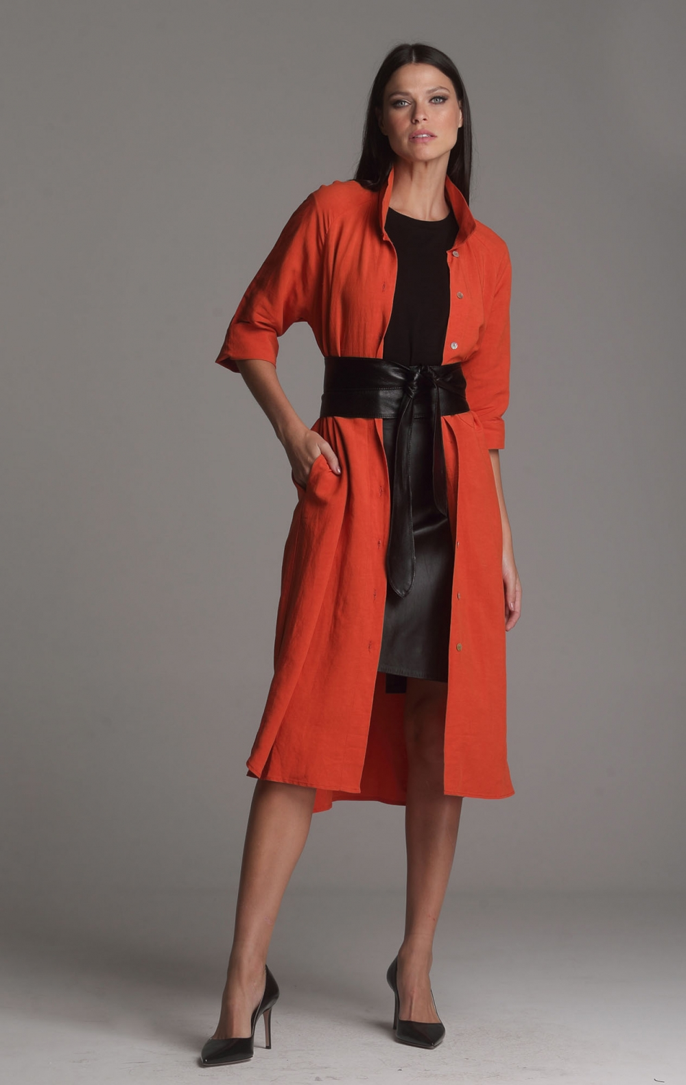 Vestido Linho Beatriz Laranja - Foto 1