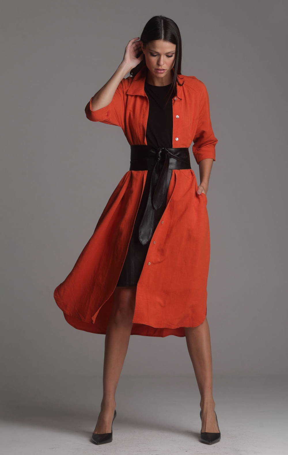 Vestido Linho Beatriz Laranja - Foto 2