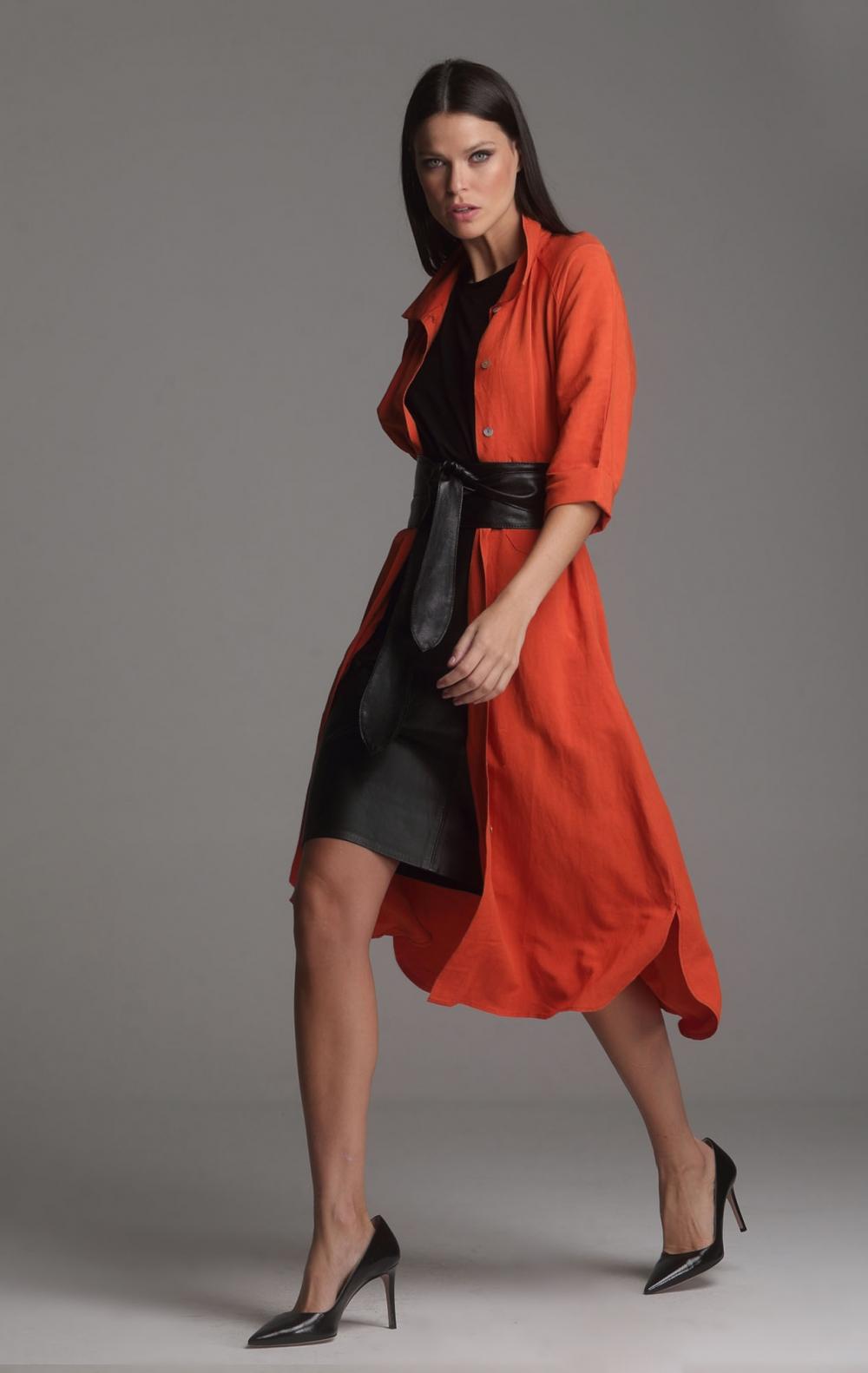 Vestido Linho Beatriz Laranja - Foto 3
