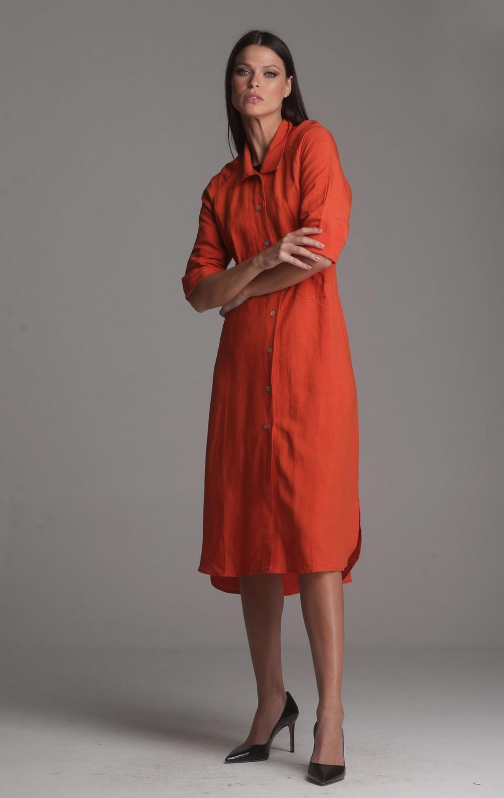 Vestido Linho Beatriz Laranja - Foto 4