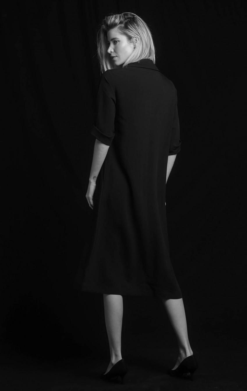 Vestido Linho Gola Boba Preto  - Foto 2