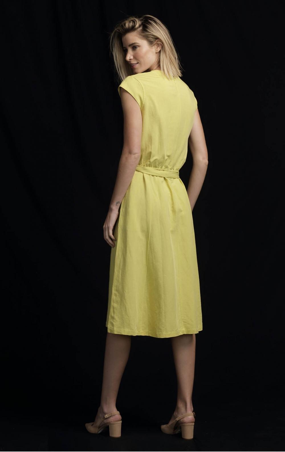 Vestido Linho Midi Cinto Lima   - Foto 2