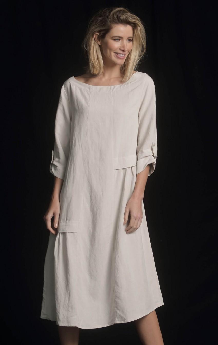 Vestido Linho Recortes Areia  - Foto 1
